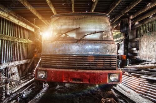 forgotten truck in barn