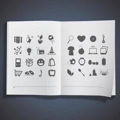 Collection of icons printed on white book