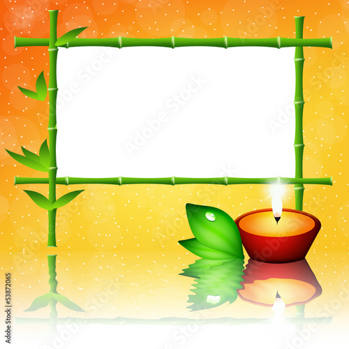 Bamboo frame and candle