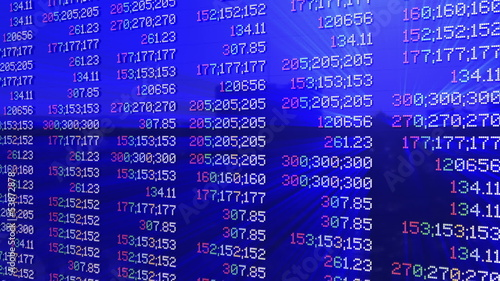 Stock market pannel, tilt, static quotes, shine