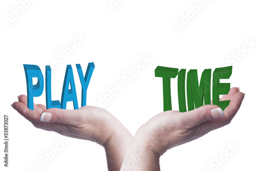 Female hands balancing play and time 3D words conceptual image