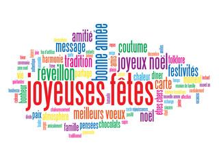 """Carte """"JOYEUSES FETES"""" (joyeux noël bonne année fêtes voeux)"""