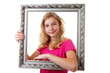 Girl is holding frame