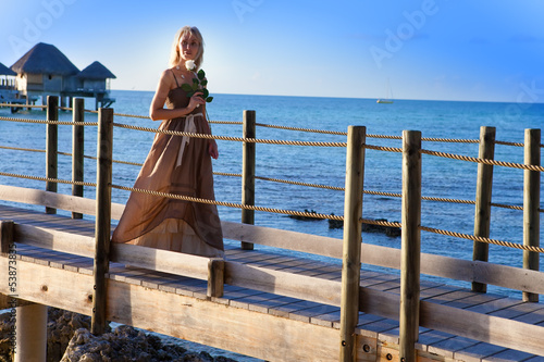 beautiful woman in a long dress on the wooden road over the sea