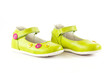Green baby shoes.  children's shoes isolated on a white backgrou