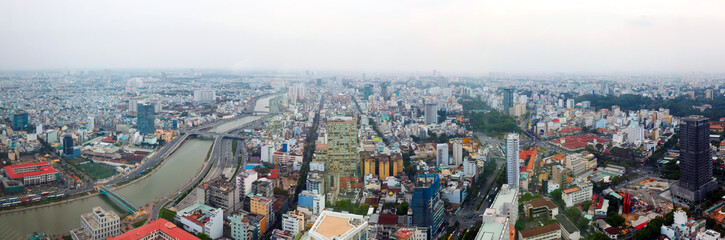 Saigon panorama of the city at  dusk