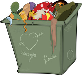 Waste container. Cartoon