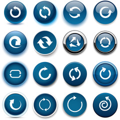 Round dark blue arrow icons.
