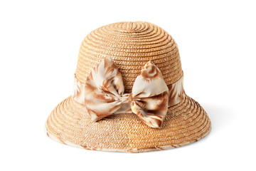 female summer straw hat with bow isolated on white background