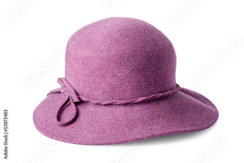purple female felt hat isolated on white background