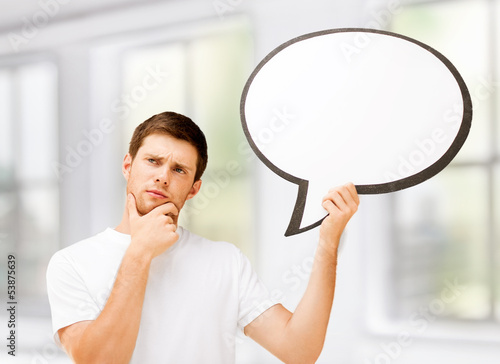 young man with blank text bubble