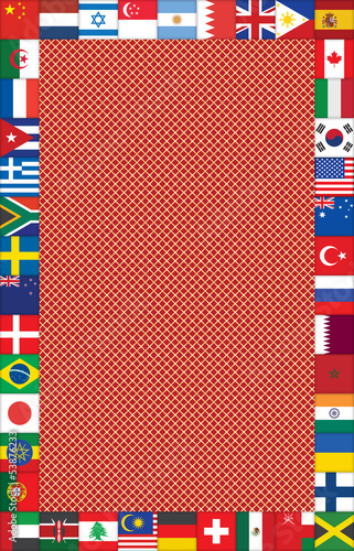 abstract grating background with frame made of flag icons