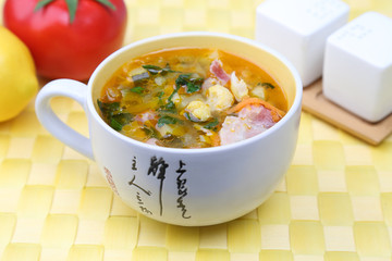 Vegetable soup with bacon