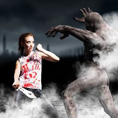 Kämpferin mit Zombie-Gegner