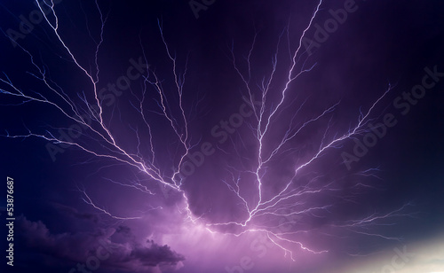 Foto op Canvas Onweer Powerful lightnings