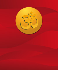 om sign in red background