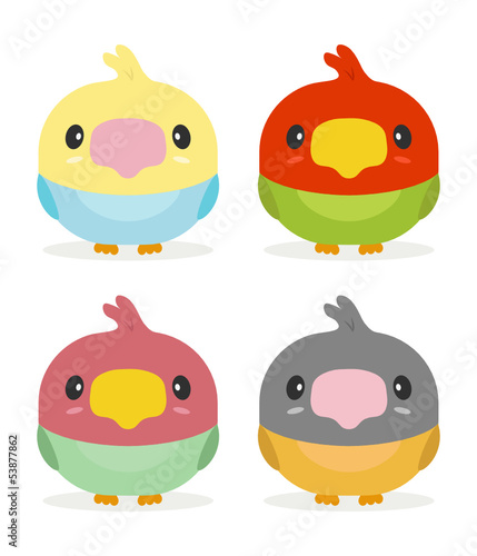 cute set of kawaii birds