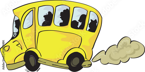 Сheerful yellow bus with passengers on isolated white background