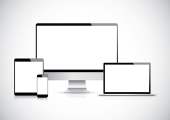 Top quality electronic devices empty screen pack vector