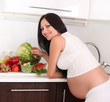 pregnant woman in kitchen