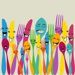 Colorful silverware set