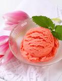 Ice cream and fresh tulips