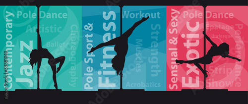 Silhouettes of female pole dancers on abstract background