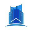 Modern blue buildings real estate logo vector