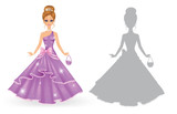 Cute princess isolated on a white background.