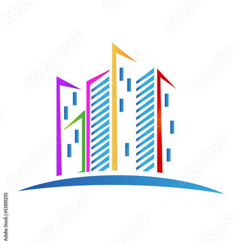 Modern skyscrapers colorful logo vector