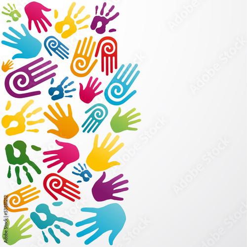 Diversity colors human hand