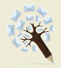 E-mailing concept pencil tree