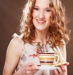 woman enjoying coffee time