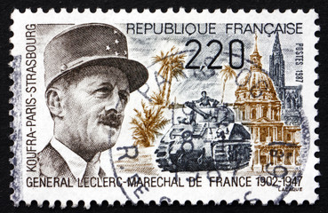 Postage stamp France 1987 General Leclerc, Marshal of France