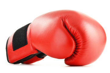 Red leather boxing glove isolated on white