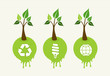 Green concept tree icon set