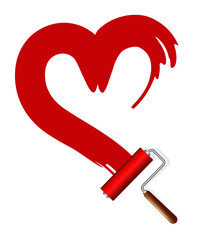 Painting the house. Paint rollers and red heart