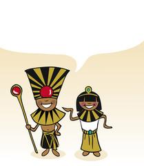 Egyptian cartoon couple bubble dialogue