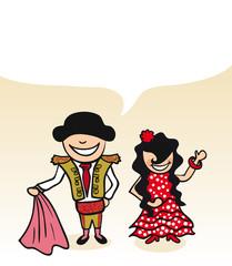 Spanish cartoon couple bubble dialogue