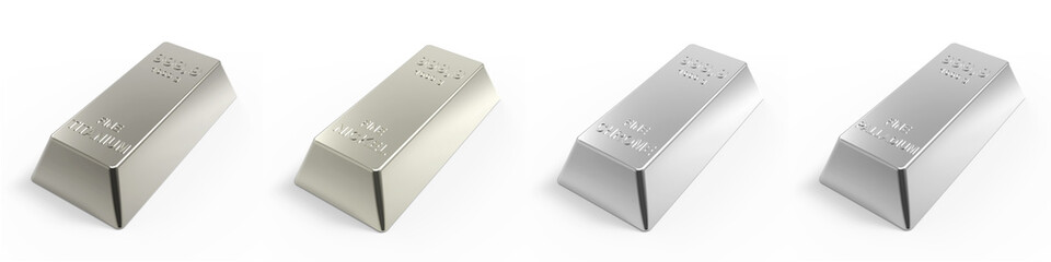 Set of valuable metals ingots on white. 3D photo rendering.
