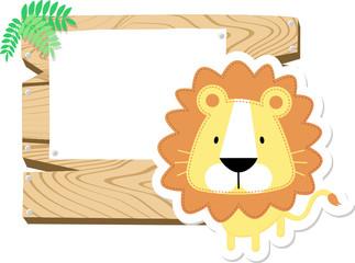 baby lion blank wooden board