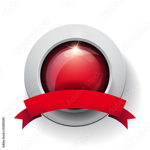 Vector button with red ribbon