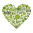 Green heart with environmental icons