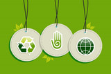 Hanging green recycle planet earth icons set