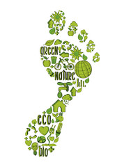 Green foot print with environmental icons