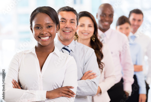 Woman with a business group