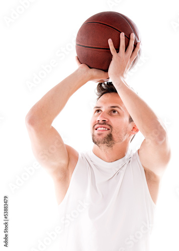 Male basketball player shooting