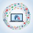 Real estate icon set laptop app