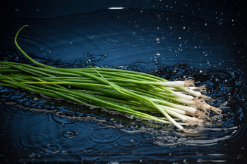 onion falling in water