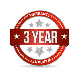 three year warranty seal illustration
